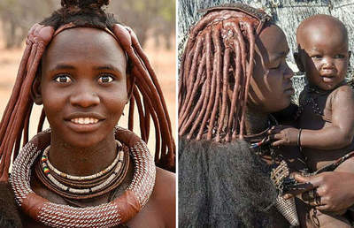 Fabulous hairstyles and make-up girls from the Himba