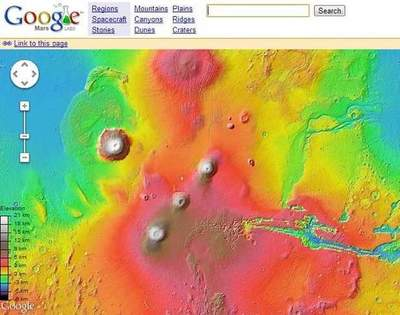 The Google map of Mars appeared